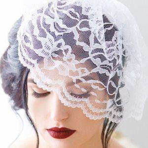 Ivory lace birdcage blusher veil